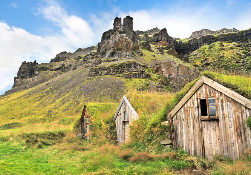 Mountain houses in Iceland